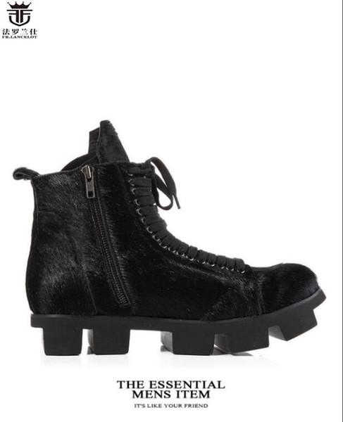 Cuir Hommes Hommes La Épais Gamme Bottes Mode Hommes Chaussures D'hiver De Noir De Acheter Fourrure En Haut Talon Bottes Bottes Cheval 2019 De Cool PiOXukZ