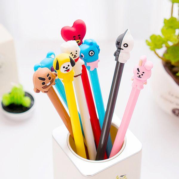 top popular BTS Bangtang Boys Gel Pen Cartoon 0.5 mm Shooky Tata Chimmy Rj black ink Signature Pen School writing Supplies Promotional Gift 2019