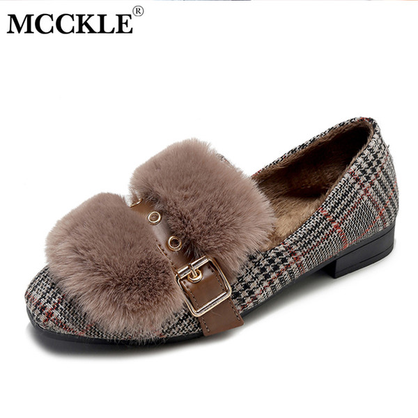 Shoes MCCKLE Women's Winter Casual Plush Warm Block Heel Loafers Female Slip On Faux Fur Moccasions Ladies Leisure Footwear 2019