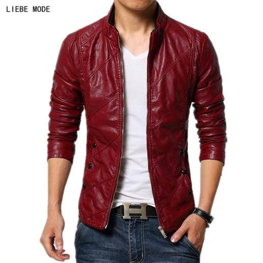Mens Spring Pu Leather Jacket Men Slim Fit Faux Leather Jacket Motorcycle Biker Coat Men Black Red Khaki Plus Size 4XL 5XL 6XL