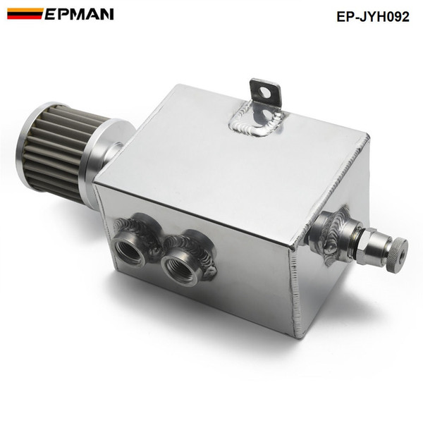Epman Racing 2L Aluminum Universal oil catch can tank with breather & drain tap 2LT baffled EP-JYH092