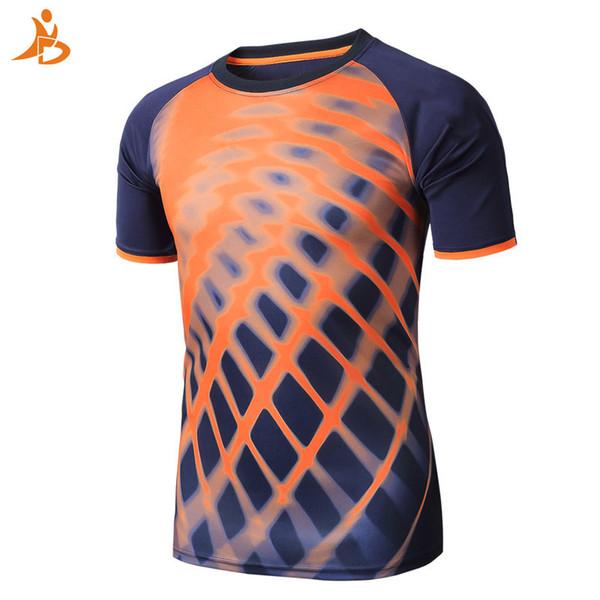Quick Dry Esporte T-shirt dos homens Top Tanque de Treinamento Ao Ar Livre Correndo T-shirt Dos Homens de Manga Curta Camisas de Impressão Rashgard Soccer Jersey