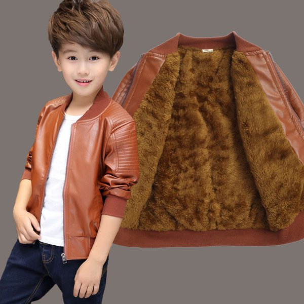 good quality boys winter coat children thick velvet kid pu leather jacket fashion solid kids warm clothes boy new 2019 tops outwears
