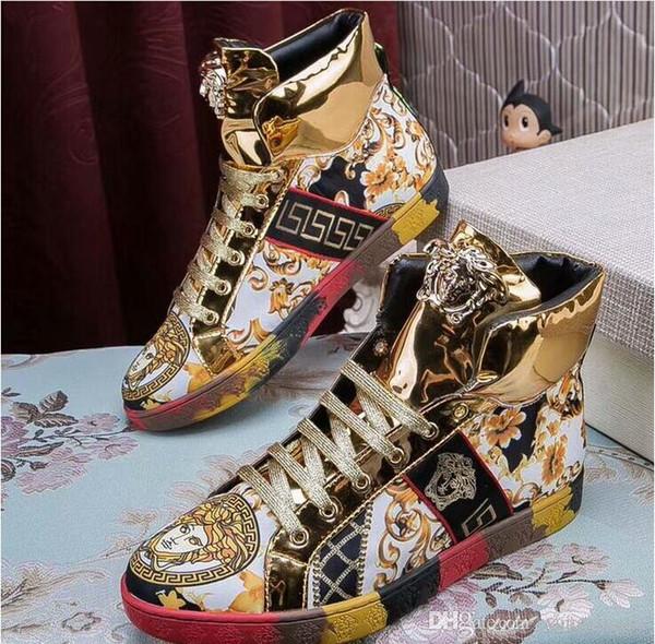 Chaussures de haricots à la mode, broderies de fil d'or, chaussures de sport pour hommes à la mode, chaussures confortables et confortables
