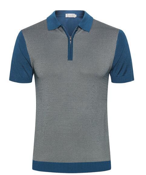 Brun**nelli short-sleeved T-shirt men's 2019 summer new silk fashion print zipper breathable casual