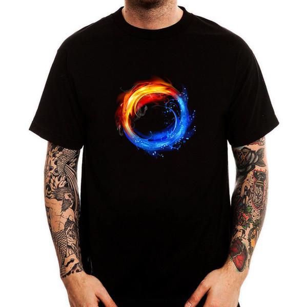 Cercle D'eau De Feu Symbole Belle Nature Coton Imprimé Hommes T-shirt Top Tee Taille Discout Chaud Nouveau Tshirt Drôle 100% Coton T-shirt