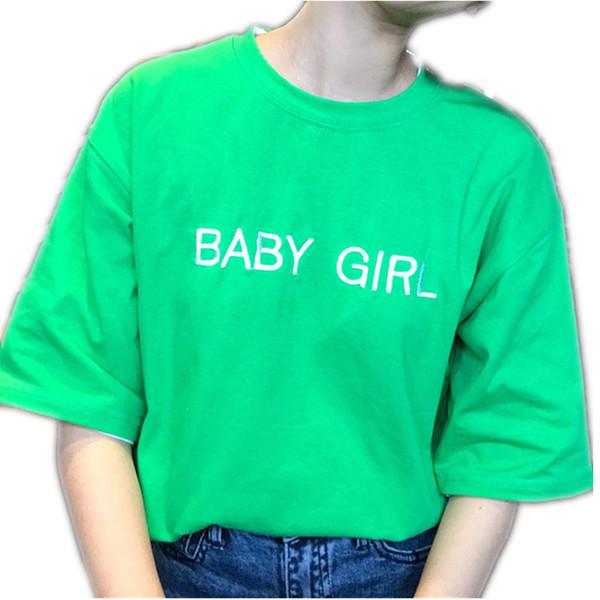 New Korean Cute Letters Broderie À Manches Courtes T-Shirt Femmes Casual Lâche D'été Tee Shirt Femelle Taille Libre