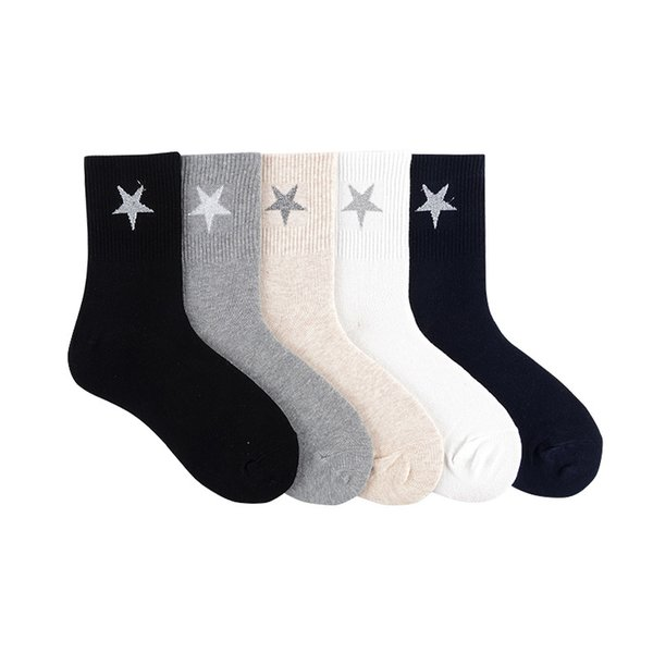 Pure color five pointed star print socks cute fun cartoon women cotton sock absorb sweat breathable casual personalized comfort
