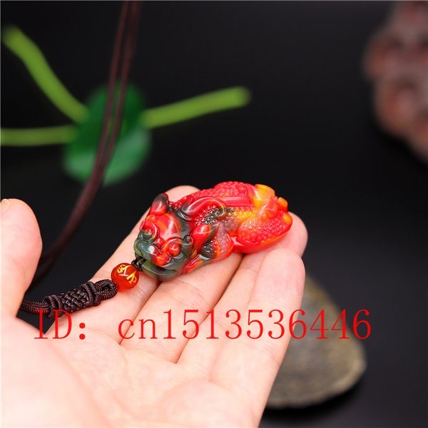 Cinese colore giada di Pixiu della collana del pendente monili di fascino degli accessori di modo di intagliate a mano Amulet regali per le donne il suo nuovo