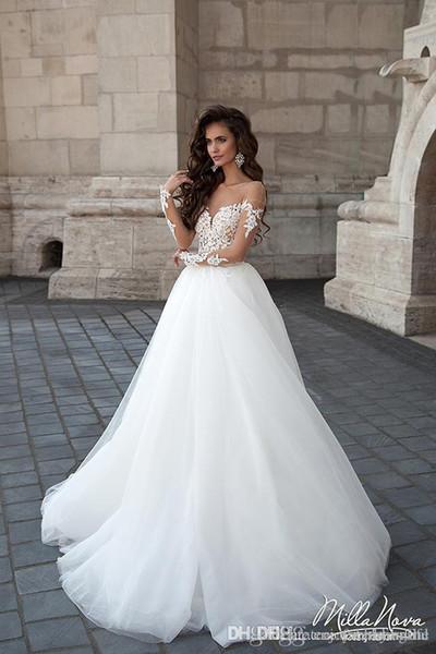 compre vestido de novia de manga larga con cuello abierto vestido de