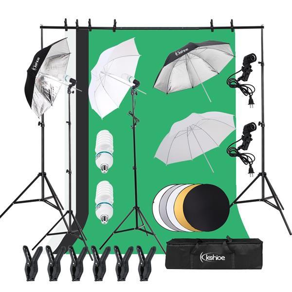 Sistema di supporto in background 2M x 3M e kit di illuminazione continua Softbox per ombrelli da 140W 5500K per prodotti Photo Studio, ritratti e riprese video