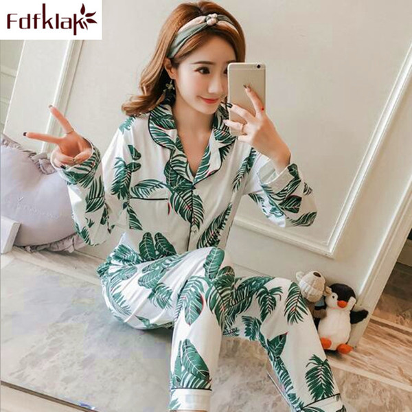 Fdfklak Casual pyjamas women new 2019 spring autumn pajamas for girls vintage print sleep clothes home wear pijama female pyjama