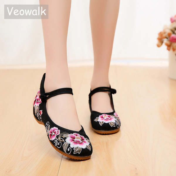Veowalk Floral Embroidered Women Cotton Fabric Ballet Flats Strengthen Sole Elegant Ladies Casual Walking Shoes Breathable