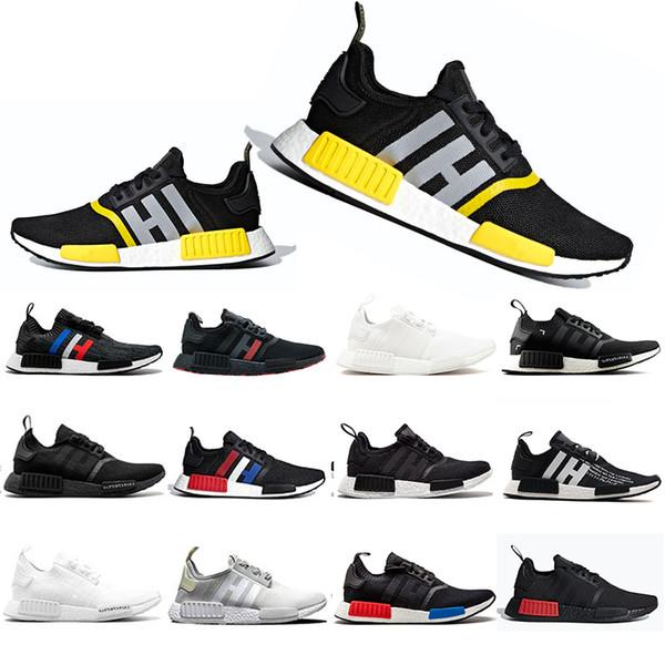 Yeni Varış R1 Koşu Ayakkabıları Thunder Bred OREO Koşucu Primeknit OG atmos Japonya Üçlü siyah Beyaz Erkek Kırmızı Mermer Spor sneakers 36-45