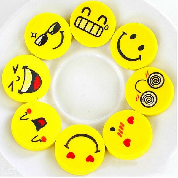 Kawaii Cartoon Smile Yellow Emoji Expression Erasers Rubber Smile Face Pencil Eraser Stationery School Supplies Kids Party Favors