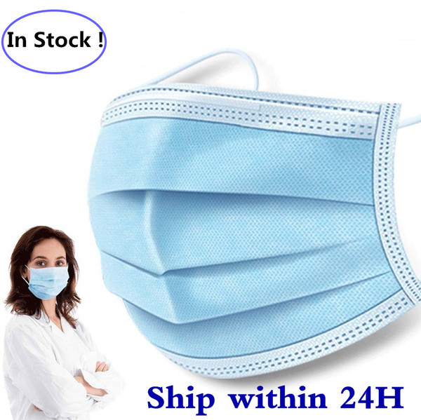 top popular In Stock High Quality Disposable Face Masks Thick 3-Layer Masks with Earloops 2020