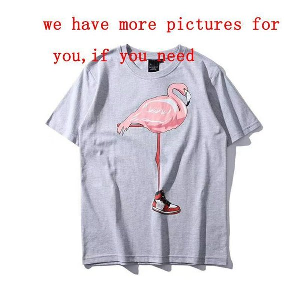 Brand Summer Mens Designer T Shirts Fashion Tide Mens Clothing Tops Fly-man Shirt Bird Flamingo Printed Crew Neck Sport Casual Women