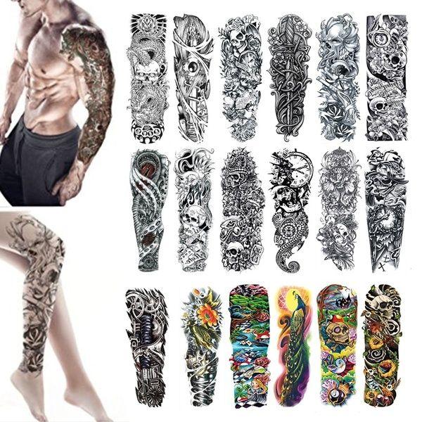 Gran brazo manga tatuaje impermeable temporal tatuaje pegatina cráneo Ángel rosa loto Hombres flor llena Tatoo Bikini pegatinas para la playa en verano