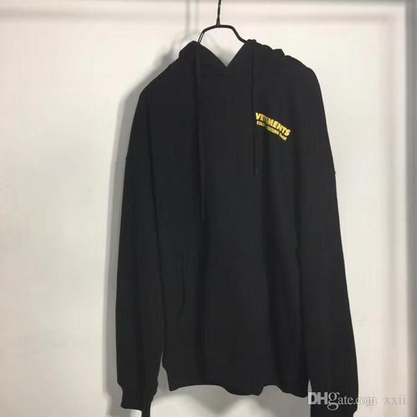 19FW En Kaliteli Vetements Sarı Logo Baskılı Kadın Erkek Hoodies Tişörtü Hiphop Streetwear Erkekler Hoodie Kazak Vetements
