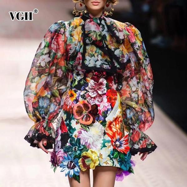 VGH Bahar Kadınlar Vintage Flare Kol Gömlek Bandaj Yay Dantel Baskı Düğme İnce Hem kadın Moda Giyim 2019 Yeni Gelgit
