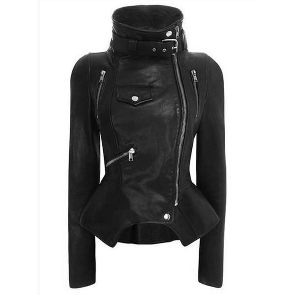 Vestes Gothiques Moto Femme Slim En Cuir Pu Manteaux En Cuir Steampunk Moto Streetwear Rock Style Métal Goth Vestes Véritable