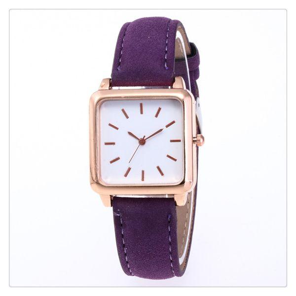 Square Watch Unique Design Dial Leather Band Quartz Watch Classic Female Super Thin Case Wristband Watch