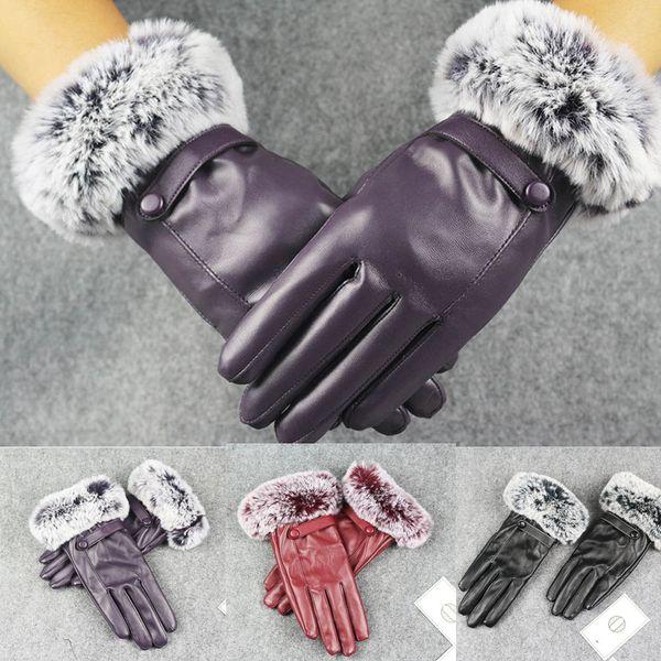 Women Lady Black Leather Gloves Autumn Winter Warm Rabbit Fur Mittens vestido de festa robe femme hiver 2018 2019 Fashion Gift