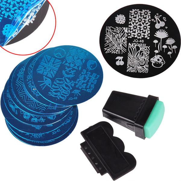 10шт ногтей штамповка пластины набор ногтей искусство штамповка изображения штамповка передачи скребок пластины печать шаблон маникюра педикюр трафарет набор