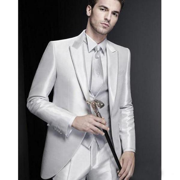 Excelente Noivo Smoking De Casamento Dos Homens Um Botão Smoking Moda Homem Jaqueta Blazer Jantar De Formatura 3 Peça Terno (Jacket + Vest + Pants)