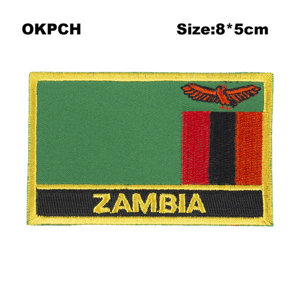 Free Shipping 8*5cm Zambia Shape Mexico Flag Embroidery Iron on Patch PT0214-R
