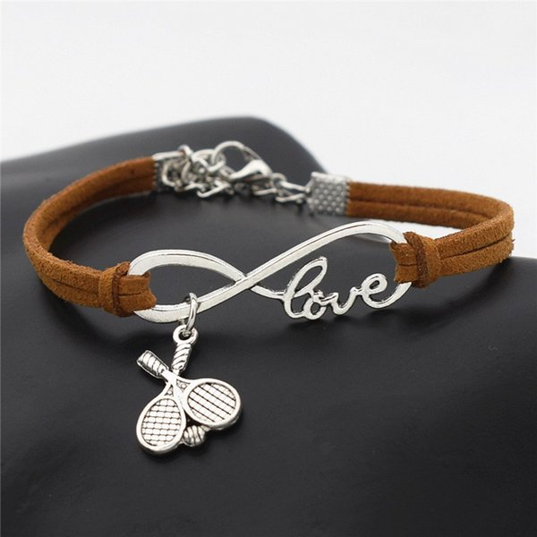 New Casual Punk Antique Silver Double Cross Tennis Racket Ball Charm Infinity Love Brown Leather Suede Cuff Bracelets for Tennis Sport Lover