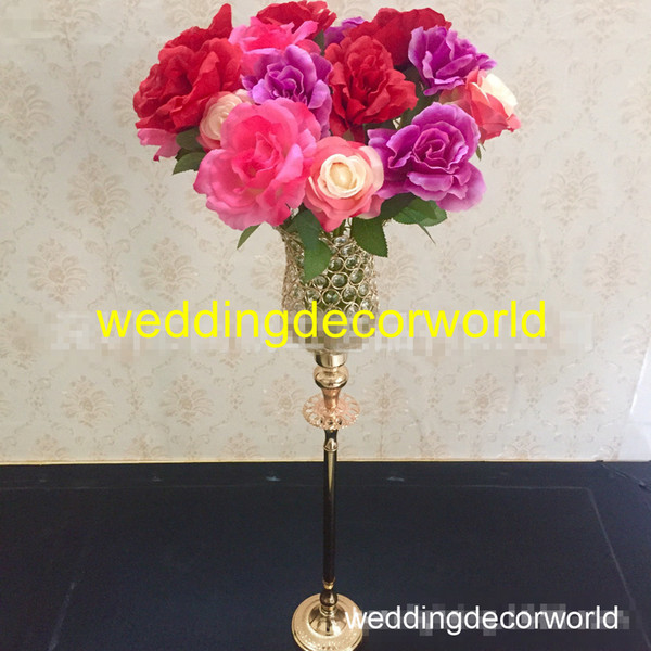 Neue stil gold metall dekorative vasen hohe blumen stehen halter für kopf tisch boden feier jubiläumsparty bankett decor0747