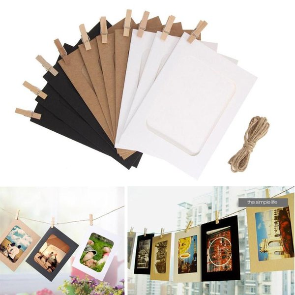10 Pcs DIY Papier Kraft Cadre Photo 3-5 pouces Suspendu Mur Photos Cadre Photo Kraft Papier Avec Des Clips et Corde Pour