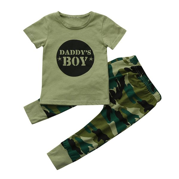 2PCS Baby Sets Newborn Toddler Baby Boys Short sleeve Letter T-Shirt Tops+Camouflage Long Pants Set Baby Boys Clothes M8Y16