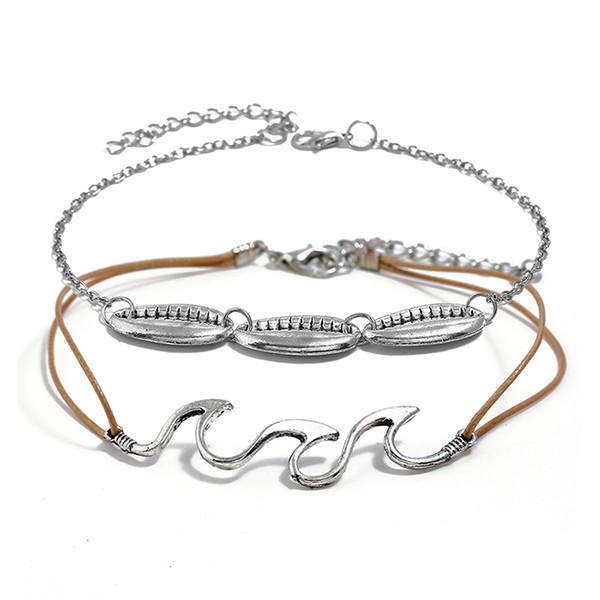 2pcs / set bohème femmes bijoux de mode bracelets cheville vagues Conch om yoga pendentif cheville corde chaîne cheville