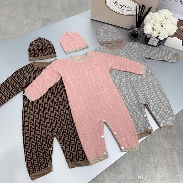 Autumn Winter 2019 New Born Baby Clothes sweater Boy Rompers Kids Costume For Girl Infant Jumpsuit with hat