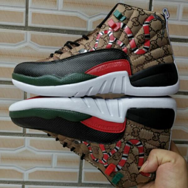 Yılan 12 GS Nesil Siyah Kahverengi Kırmızı Erkekler Basketbol Ayakkabıları Yeni stil 12 s Mens Snakeskin Renkli Spor Tasarımcı Sneakers Ile kutusu