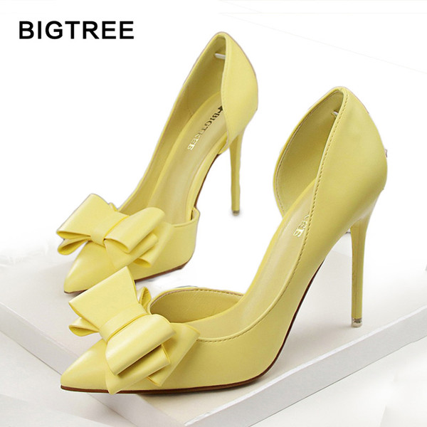 walon1234 / BIGTREE Fashion Women Pumps Sexy High Heels Wedding Shoes Pointed Toe Dress Shoes Female 2018 Women Heel Shoes pink 7 Colors