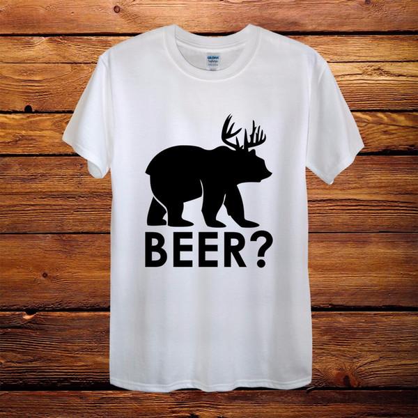 Cerveza Deer Bear Moose Elk Caza Camiseta de diseño superior Hombre Unisex Mujer equipada Diversión
