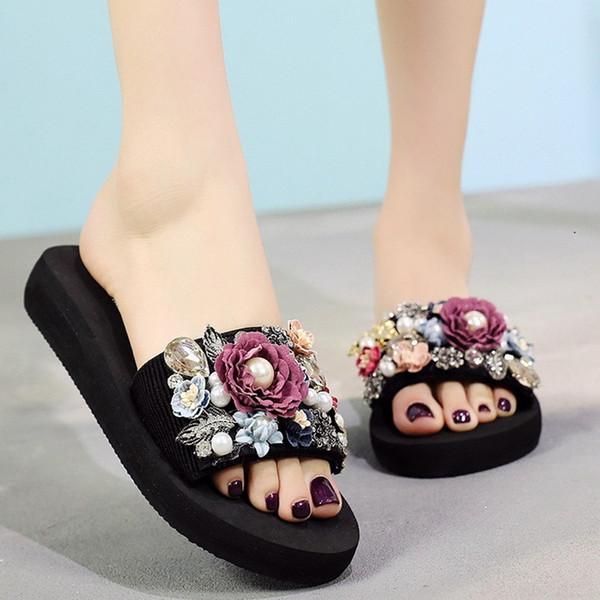 Shujin Women Slipper Nice Torridity Women Crystal Wedges Sandals Shoes -slip Bling Sequins Beach Slippers Flop