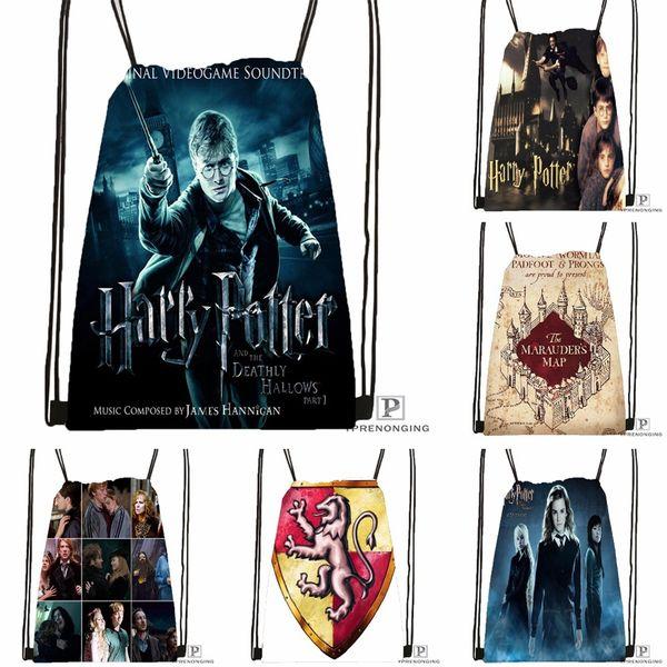 Custom Harry Potter Drawstring Backpack Bag Cute Daypack Kids Satchel (Black Back) 31x40cm#180531-02-13 #33942
