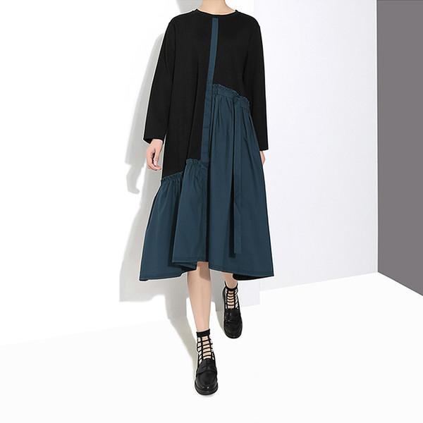 Novo 2019 Estilo Coreano Mulheres Primavera Longo Verde Patchwork Vestido De Bezerro Comprimento A-Line Lady Bonito Desgaste Ocasional Vestido Robe Femme 4669