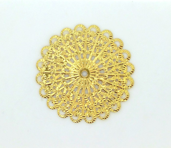 diy findings Free shipping-50 Pcs Gold Tone Filigree Flower Wraps Connectors Metal Crafts Gift Decoration DIY Findings Connectors 42mm J2014