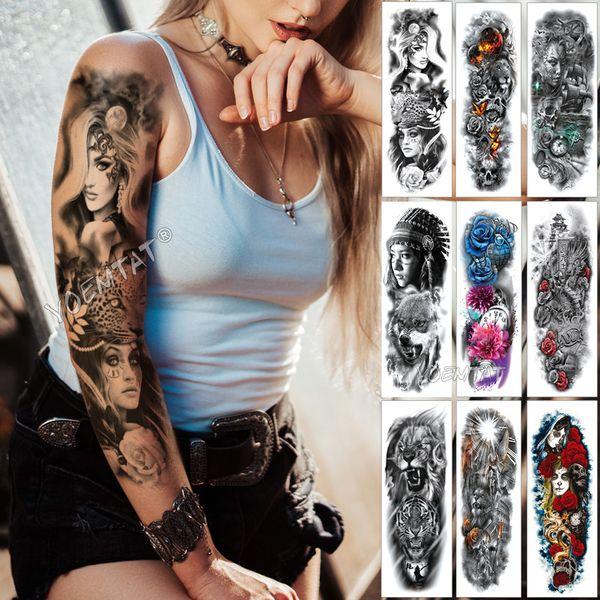 Gran Manga Del Tatuaje Tatuaje Medianoche Leopardo Belleza Chica Impermeable Tatto Temporal Etiqueta Moonlight Rose Cráneo Completo Tatoo Mujeres SH190724