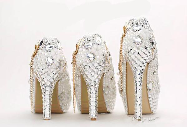 2019Crystal Wedding Shoes Luxury Round Toe Rhinestone Pearl Bridal Shoes High Heel Ecru White Dress Shoe