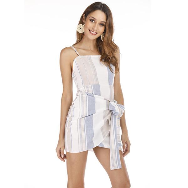 2019 Yeni Kadın Moda Tatlı Dikey Çizgili Sarılmış Mini Önlük Elbise Ayarlanabilir Askıları ve Dantelli Elastik Geri S-XL ile Plaj Tatil için
