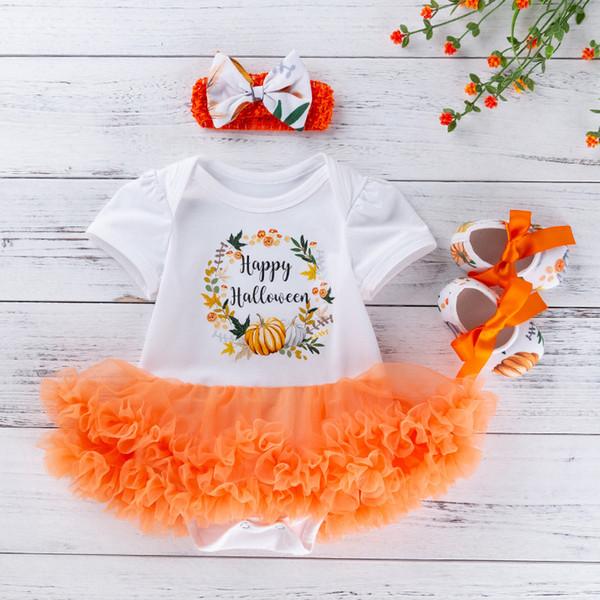 Baby Girls Clothes Baby Girls Tutu Dress Romper+Headband+Shoes Sets Toddler Halloween Costumes Dress Outfit Kids Pumpkin