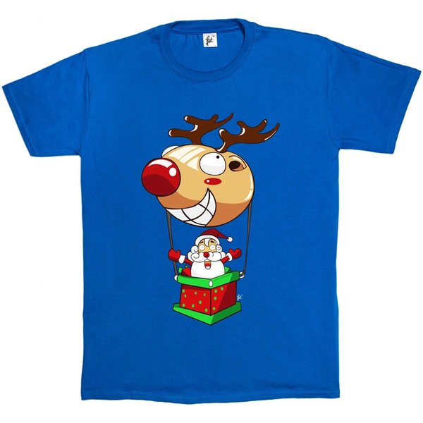 Santa Flying In Red Nose Reindeer Hot Air Balloon Christmas Xmas Mens T-Shirt