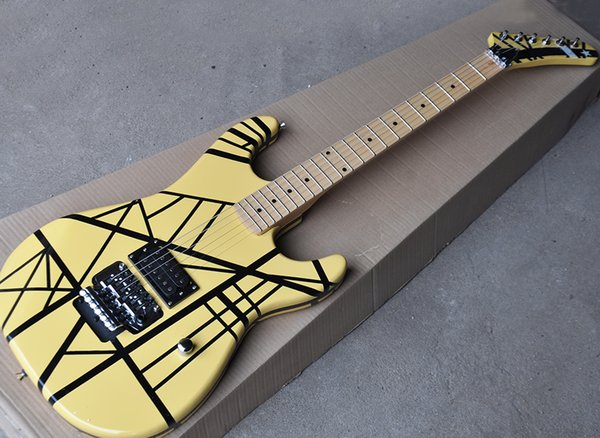 Factory wholesale yellow electric guitar with black strips,Humbuckers pickups,Floyd rose,Maple fingerboard,Floyd rose,Can be customize