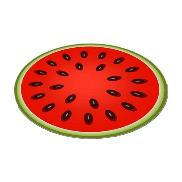 Modern Home Decoration Watermelon Printed Round print design, unique and fashion. Fruit Carpet Anti-slip Rug Pad